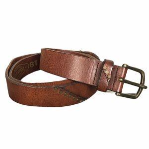 Diesel Brown Leather Belt w/Brass Buckle & Studs